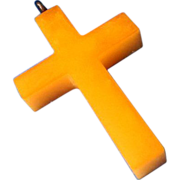 Butterscotch Bakelite Cross Pendant