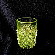 EAPG Vaseline Glass Hobnail Tumbler by Hobbs Brockunier