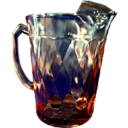 Hazel Atlas Diamond Optic Pink Depression Glass Iced Tea Pitcher