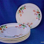 Set of Five Hall China Crocus Pattern Saucers
