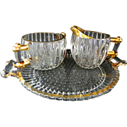 Jeannette Glass National Pattern Creamer and Sugar Bowl w/ Trays