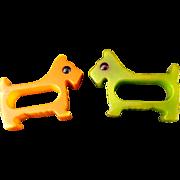 Two Bakelite Scottie Dog Napkin Rings
