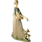 Early Lladro Girl with Goose and Dog  ** High Glaze Finish