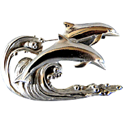 Dolphins Jumping Pin or Brooch