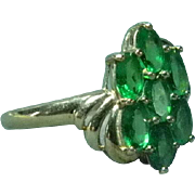 14 K Gold with Green Topaz Size 8 Ladies Dinner Ring