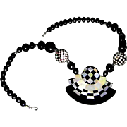 Op-Art Mother of Pearl Necklace & Earrings