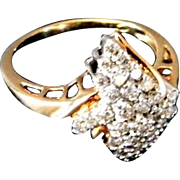 SALE Laddies 10K Yellow Gold Dinner Ring with 33 Diamonds