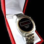 1976 Bulova Red LED Quartz Gentlemen's Wrist Watch  **RUNNING**