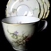 Theodore Haviland Demitasse Cups & Saucers *Rosalinde Pattern*Set of 4