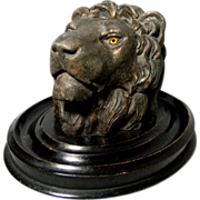 Cast Bronze Lion's Head Inkwell w/ Original Insert ** Ink Well