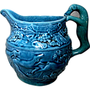 Blue Majolica Pitcher with Molded Hound Handle