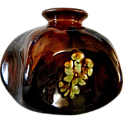 Unique Peters and Reed Brown Glazed Vase