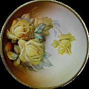 La Reine Thomas Yellow Rose Hand Painted Plate Artist  Signed