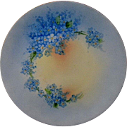 """Lovely Bavarian """"Favorite""""  Signed Forget-Me-Not Hand Painted Cabinet Plate J.H. Sto"""