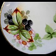 Hand Painted Bavarian Cabinet Plate Black Berries Blackberries
