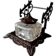 SOLD Nice Vintage Inkwell with Pen Rest Ink Well
