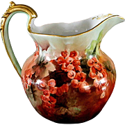 T & V  Limoges Artist Signed and Hand Painted Pitcher