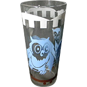 Art Deco Owl Drinking Glass or Tumbler
