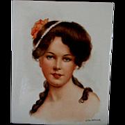 Large Tile Portrait of Beautiful Woman **Signed  Lillian Walkowiak