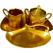 Pickard Sugar Bowl, Creamer, Divided Tray, and Bowl Set