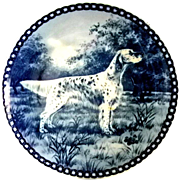Beautiful Blue Danish Porcelain Plate with English Setter