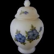 Fenton Hand Painted Satin Custard Ginger Jar