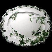 """Ridgways """"Lonsdale"""" Pattern Large Green Transfer Platter"""