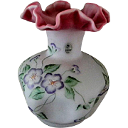 Large Fenton Hand Painted Burmese Vase ** Lavender Satin Finish**