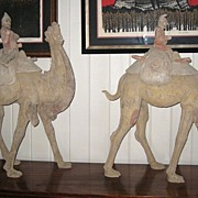 Pair of Chinese Tang Dynasty Pottery Bactrian Camels with Riders