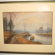 Japanese Watercolor Painting of a Landscape