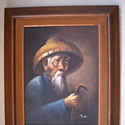 Oil Painting of an Older Chinese Man