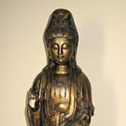 Tall Elegant Chinese Bronze Standing Guanyin