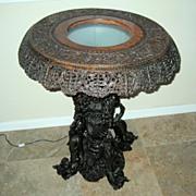 SALE PENDING Exquisite Turkish Carved Wood Pedestal Table