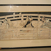 Japanese Framed Triptych Prints by Kunisade