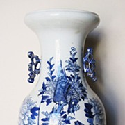 Early 19th C. Chinese Tall Porcelain Blue & White Vase