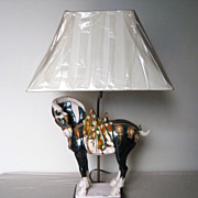 Chinese Sancai Pottery Tang Style Horse Lamp