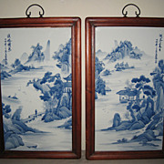 SOLD Pair Chinese Blue and White Tile Paintings