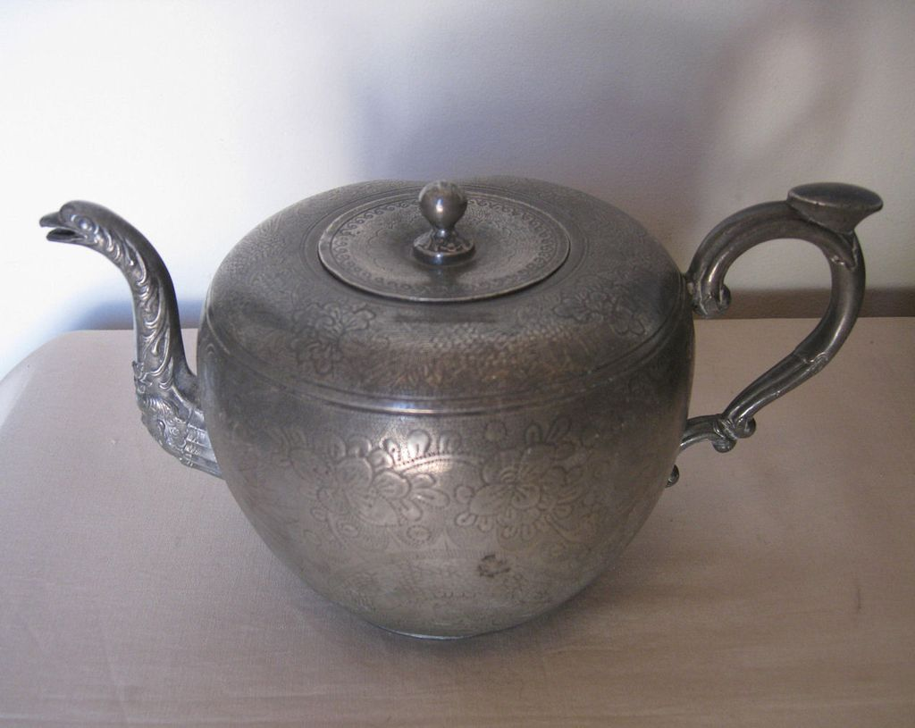 Antique Chinese Pewter Tea Pot From Dynastycollections On