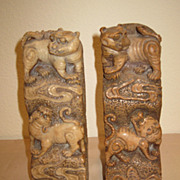 Pair of Large Chinese Soapstone Seals