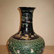 19th C. Chinese Famille Verte Reticulated Vase