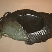 Jade Fish & Lotus Brush Washer