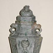 SALE PENDING Chinese Jadeite Archaic-style Vase