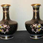 Pair of Vintage Chinese Cloisonné Small Vases