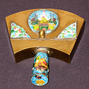 19th Century Chinese Brass & Enamel Silent Butler