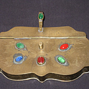 19th Century Chinese Brass with Jade & Coal Silent Butler