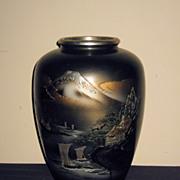 Large Old Japanese Bronze Vase with Mt. Fuji