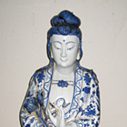 Chinese Blue & White Porcelain Tall Guanyin