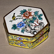Chinese Floral Enamel Trinket Box