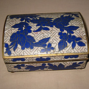 Antique Chinese Blue Cloisonné Box