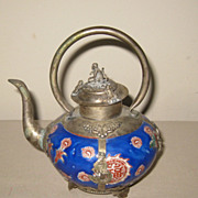 Chinese Vintage Porcelain & Metal Teapot